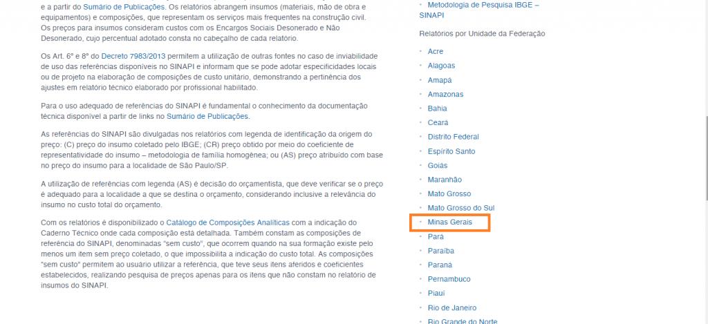 Lista da Sinapi no site da Caixa Econômica Federal