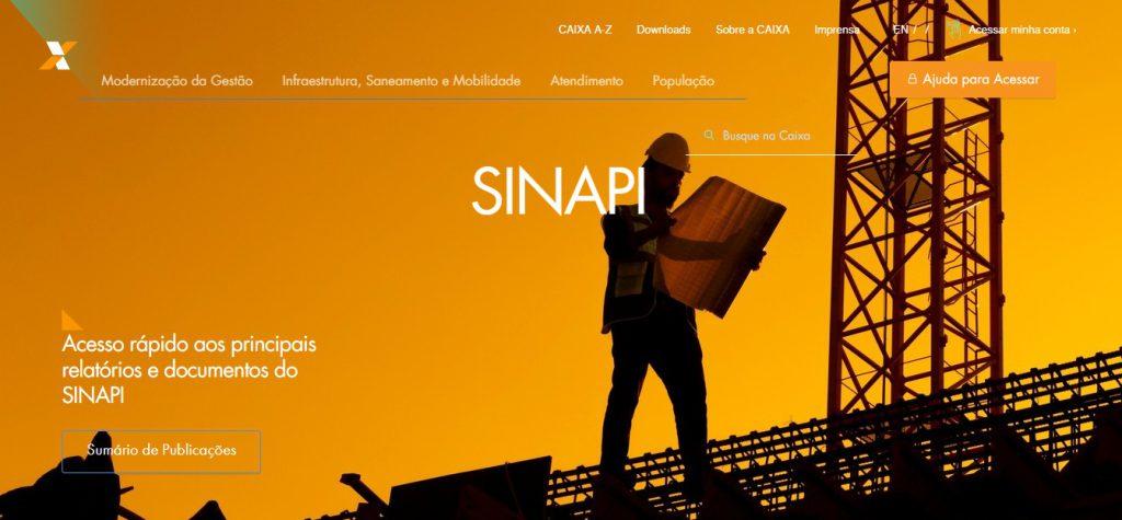 print da home do site sinapi da caixa